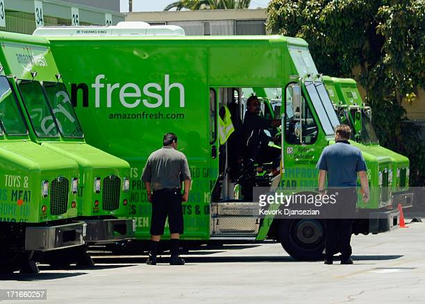 An Amazon Fresh truck arrives at a warehouse on June 27 2013 in Inglewood California Amazon began groceries and fresh produce delivery on a trial...