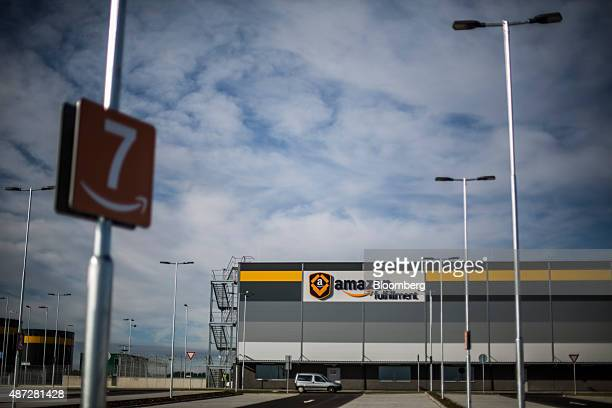 An Amazon Fulfillment logo sits on display outside the new AmazonCom Inc fulfillment center on its opening day in Dobroviz Czech Republic on Tuesday...