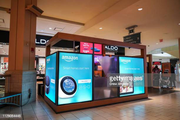 An Amazon PopUp kioskstyle store stands inside the Queens Center Shopping Mall March 7 2019 in the Queens borough of New York City According to a...