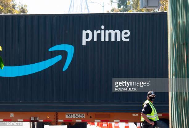 An Amazon Prime delivery truck drives through the Port of Los Angeles and Long Beach April 22, 2020 in Long Beach, California.