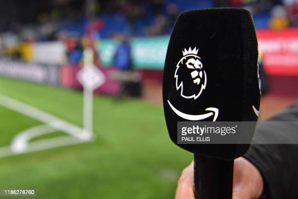 An Amazon Prime microphone is pictured ahead of the English Premier League football match between Burnley and Manchester City at Turf Moor in Burnley...