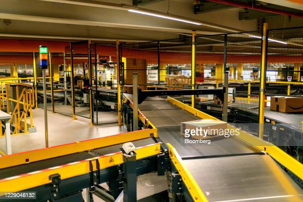 An Amazon Prime parcel passes along a conveyor at an Amazon.com Inc. Fulfillment center in Frankenthal, Germany, on Tuesday, Oct. 13, 2020. Amazon's...