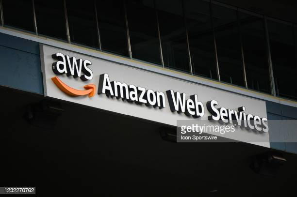 An Amazon Web Services ad board is seen in a pre-season friendly match between the Seattle Sounders and San Diego Loyal SC on April 2021 at Lumen...