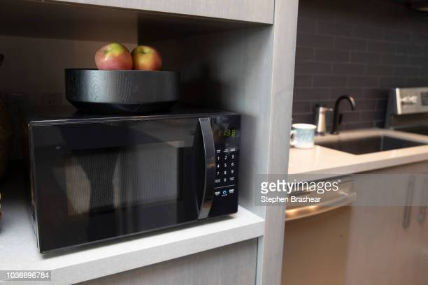 An 'Amazonbasics Microwave' which can be controlled by Alexa is pictured at Amazon Headquarters shortly after being launched on September 20 2018 in...