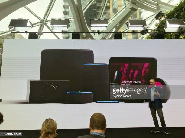 An Amazoncom Inc official releases new products including the Echo Show displayspeaker hybrid during a press event in Seattle on Sept 20 2018 ==Kyodo