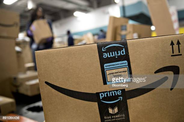 An Amazoncom Inc package sits before delivery at the United States Postal Service Joseph Curseen Jr and Thomas Morris Jr processing and distribution...