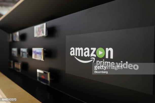 An AmazonCom Inc Prime Video logo sits on display on the Sony Corp stand on the second day of Mobile World Congress in Barcelona Spain on Tuesday Feb...