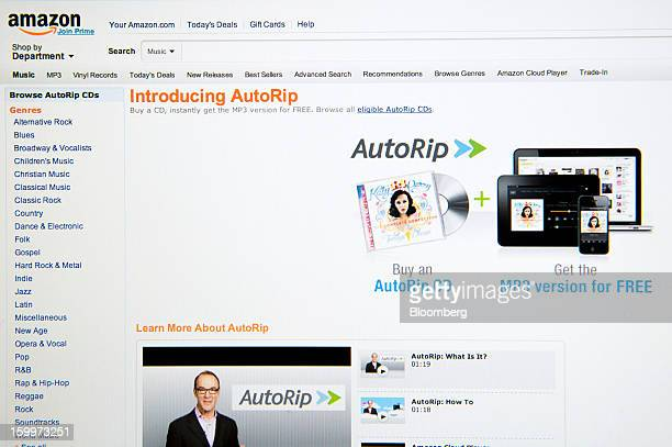 An Amazoncom web page displaying information about their new AutoRip service is displayed for a photograph in San Francisco California US on Tuesday...