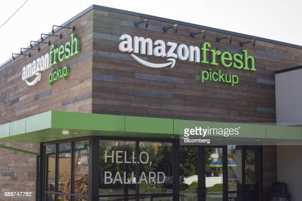 An AmazonFresh Pickup location stands in Seattle Washington US on Friday May 26 2017 Amazoncom Inc opened two grocery pickup kiosks in Seattle part...