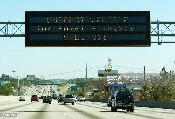 An 'Amber Alert' sign over I85 North in metroAtlanta alerts the public to keep an eye out for a 1994 blue Chevy pickup truck thought to have been...