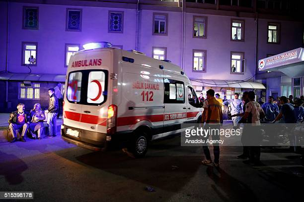 An ambulance arrives at the Ankara Numune Hospital after an explosion hit Ankara's central Kizilay neighborhood on March 13 2016 According to initial...