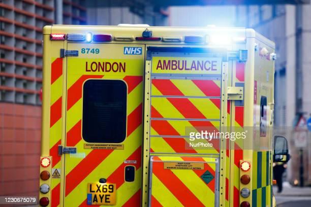 An ambulance arrives at the emergency department of the Royal London Hospital in London, England, on January 19, 2021. Heath Secretary Matt Hancock...
