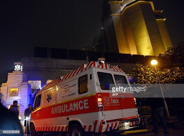 An ambulance arrives at the Leela Hotel in New Delhi on January 17 2014 where wife of Indian minister Shashi Tharoor Sunanda Pushkar was found dead...