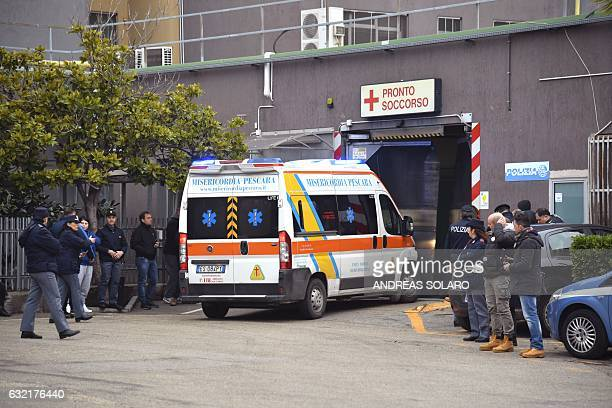 An ambulance arrives at the Pescara Central hospital in the eastern coastal city of Pescara some 58 kilometer from the site of an avalanche that...