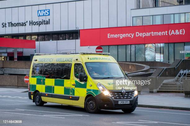 An ambulance at NHS St Thomas's Hospital, A&E department on March 24, 2020 in London. British Prime Minister, Boris Johnson, announced strict...