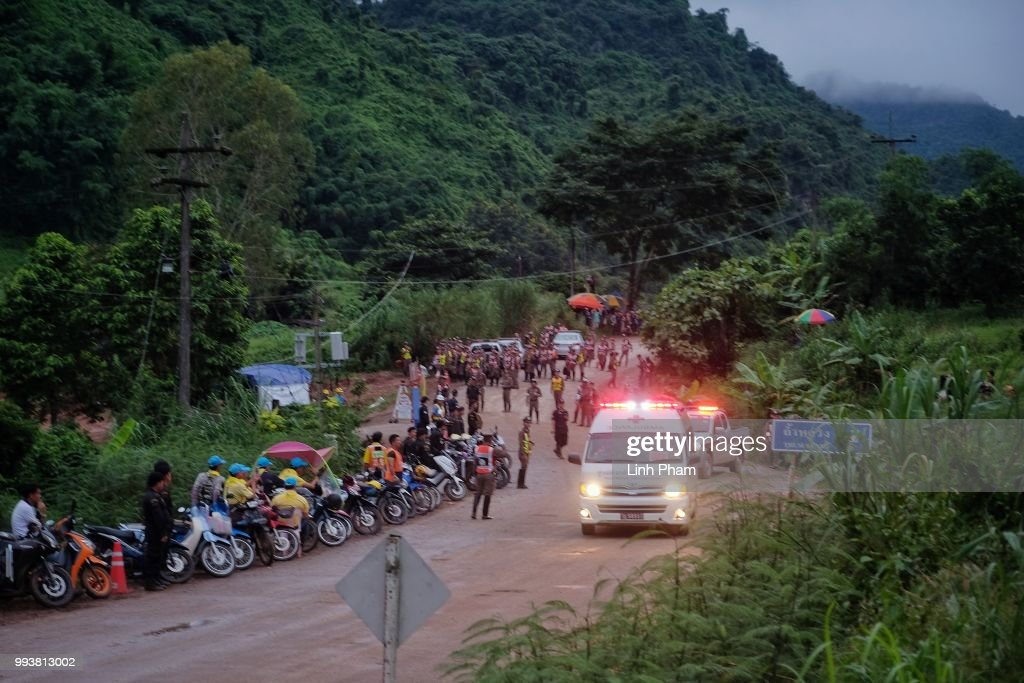 An ambulance carrying one of the boys rescued from Tham Luang Nang Non cave heading towards the hospital on July 8, 2018 in Chiang Rai, Thailand. Divers began an effort to pull the 12 boys and their soccer coach on Sunday morning after they were found alive in the cave at northern Thailand. Videos released by the Thai Navy SEAL shows the boys, aged 11 to 16, and their 25-year-old coach are in good health in Tham Luang Nang Non cave and the challenge now will be to extract the party safely.