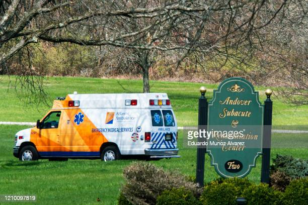An ambulance departs Andover Subacute and Rehabilitation Center on April 16, 2020 in Andover, New Jersey. After an anonymous tip to police, 17 people...