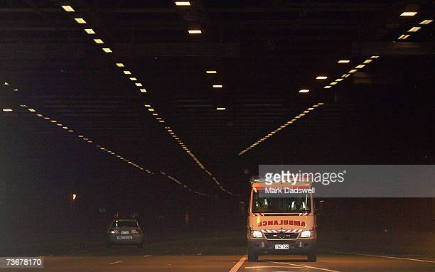 An Ambulance emergency unit leaves the eastern end of the Burnley Tunnel after it was closed due to an emergency on March 23 2007 in Melbourne...