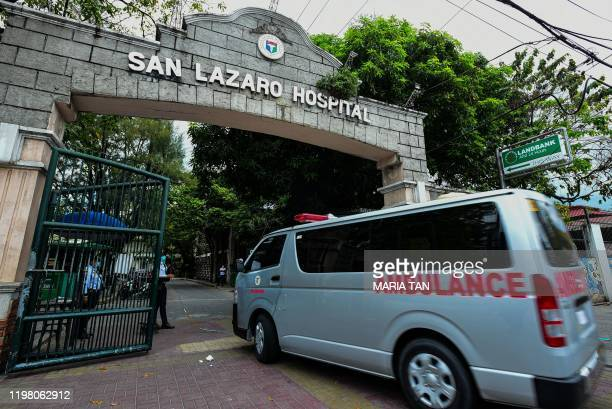An ambulance enters the main gates of the San Lazaro Hospital in Manila on February 2 2020 The Philippines reported the first death outside of China...