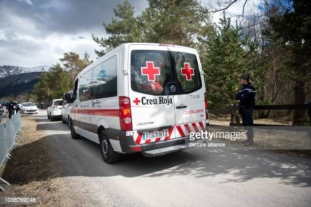 An ambulance from the Catalan Red Cross just before the arrival of the victims' relatives in Le Vernet France 26 March 2015 PhotoDANIELNAUPOLD/dpa...