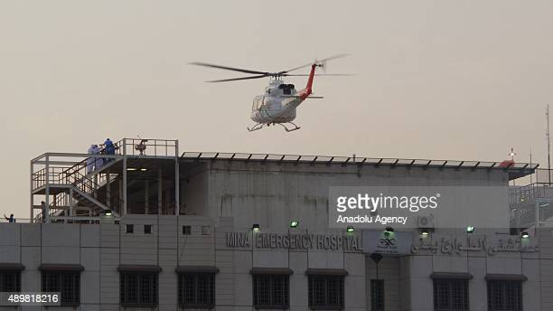 An ambulance helicopter lands at the top of an hospital after at least 753 Muslim Hajj pilgrims were killed and at least another 450 injured in a...