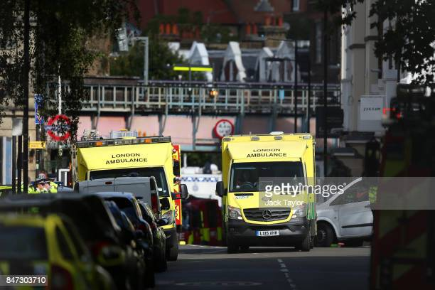 An ambulance is seen at Parsons Green Underground Station on September 15 2017 in London England Several people have been injured after an explosion...
