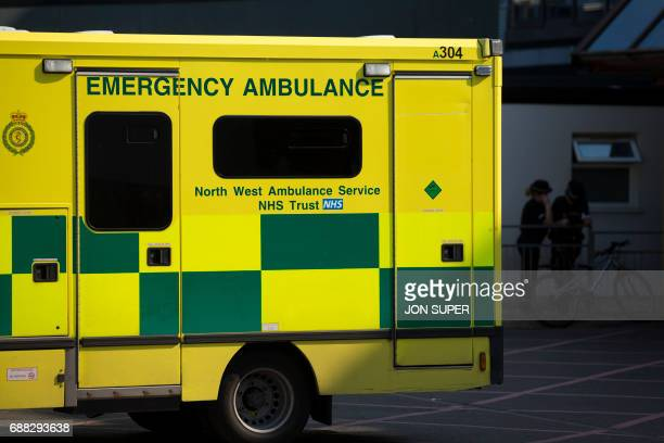 An ambulance is seen at the Manchester Royal Infirmary Hospital in Manchester northwest England on May 25 2017 where some of the injured victims of...