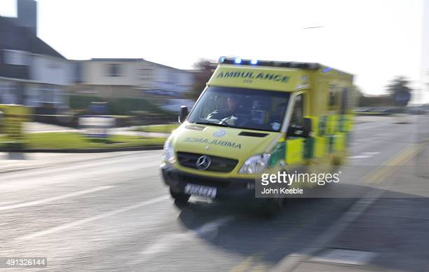 An ambulance is seen on an emergency call on October 4 2015 in Southend on Sea England