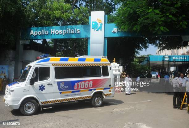 An ambulance is seen outside a hospital where Tamil Nadu Chief Minister Jayalalitha Jayaram was being treated in Chennai on September 30 2016...