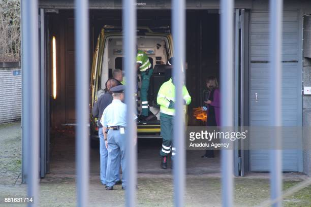 An ambulance is seen outside the International Criminal Tribunal for the former Yugoslavia after Crotian Former General Slobodan Praljak allegedly...