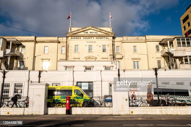An ambulance is seen outside the Royal Sussex County Hospital where a third person has tested positive for coronavirus in the UK on February 6 2020...