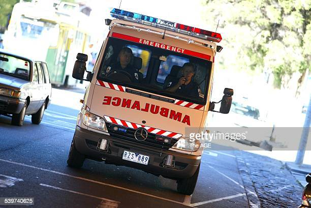 An ambulance leaves a Melbourne hospital 24 May 2003 THE AGE Picture by JASON SOUTH