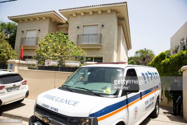 An ambulance leaves the house of China's Ambassador to Israel Du Wei, after he was found dead in his house on May 17, 2020 in Herzliya, Israel. Du...