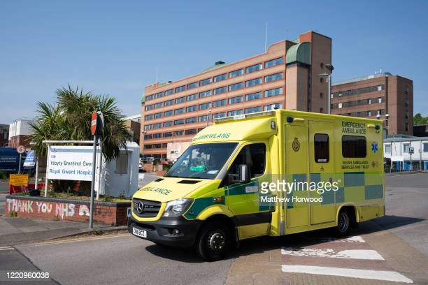 An ambulance leaves the Royal Gwent hospital during the coronavirus outbreak on April 25 2020 in Newport Wales Over 750 people have died with...