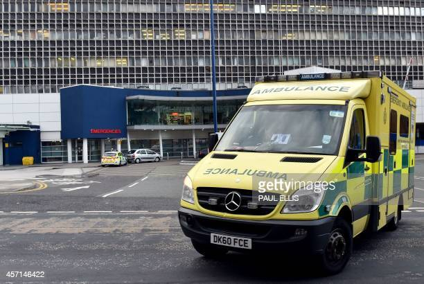 An ambulance leaves the Royal Liverpool Hospital in Liverpool north west England on October 2014 Workers in England's staterun National Health...