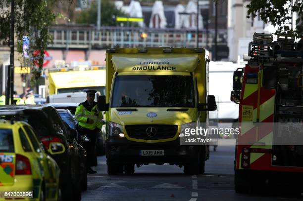An ambulance leaves the scene at Parsons Green Underground Station on September 15 2017 in London England Several people have been injured after an...