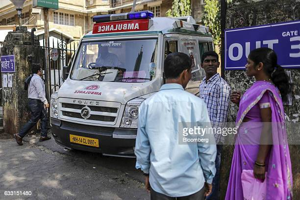 An ambulance leaves the the King Edward Memorial Hospital in the Parel area of Mumbai India on Saturday Jan 28 2017 India's Finance Ministry will...