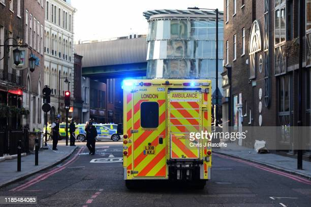 An ambulance makes its way to the scene near Borough Market after reports of shots being fired on London Bridge on November 29, 2019 in London,...