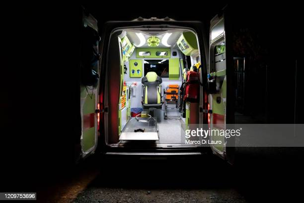An ambulance of the Italian Red Cross is seen empty during an emergency intervention on a patient positive to COVID19 on April 8 2020 in Bergamo...