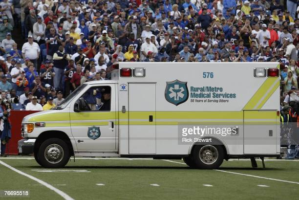 An ambulance on the field waits to transport Kevin Everett of the Buffalo Bills after he was injured during the game against the Denver Broncos on...