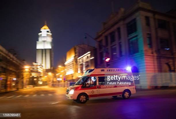 WUHAN CHINA MARCH 4 2020 An ambulance on the street of Wuhan Wuhan City Hubei Province China March 4 2020 PHOTOGRAPH BY Costfoto / Barcroft Studios /...