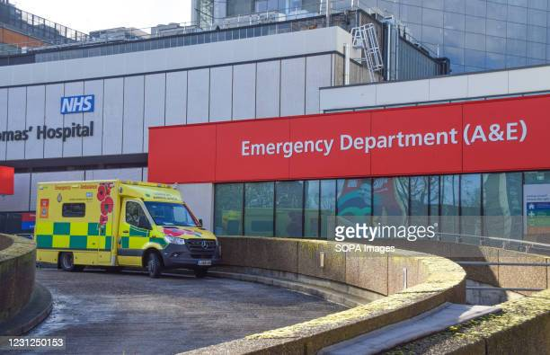 An ambulance outside St Thomas' Hospital in London. Coronavirus cases are falling across the UK, as the government prepares to present its plan for...