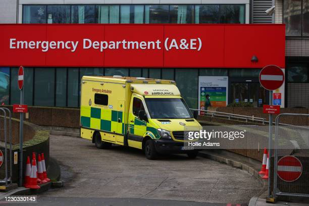 An ambulance parked outside the St Thomas' Hospital emergency department on December 28, 2020 in London, United Kingdom. Patient demand for the...