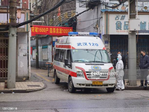 An ambulance responds to a sick person on January 22 2020 in Wuhan China The cause of the person's illness is as of yet unknown A new infectious...