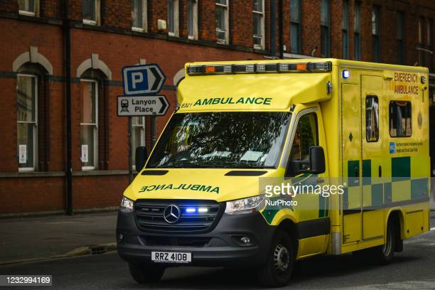 An ambulance seen in Belfast city center. On Wednesday, May 19 in Belfast, Northern Ireland