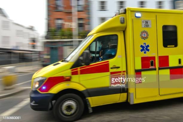 An ambulance seen in Dublin city center, during Ireland's third national lockdown. In Dublin city centre during Level 5 Covid-19 lockdown. Ireland's...