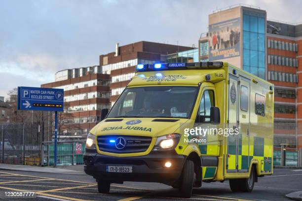 An ambulance seen near the A and E department at the Mater Misericordiae University Hospital in Dublin, during Ireland's third national lockdown. The...