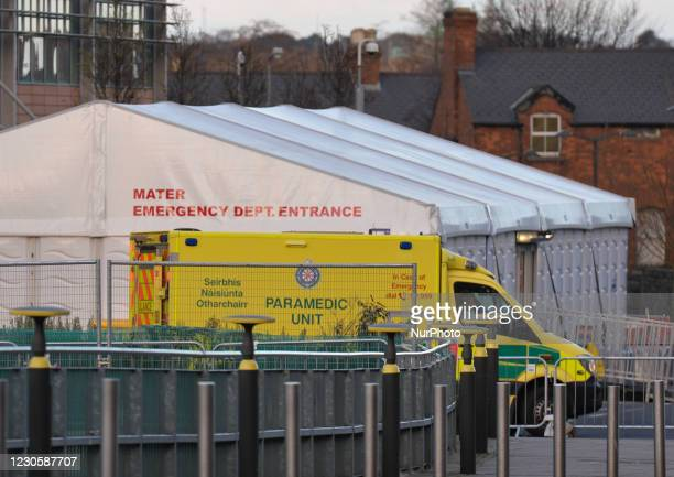 An ambulance seen the A and E department at the Mater Misericordiae University Hospital in Dublin, during Ireland's third national lockdown. The...