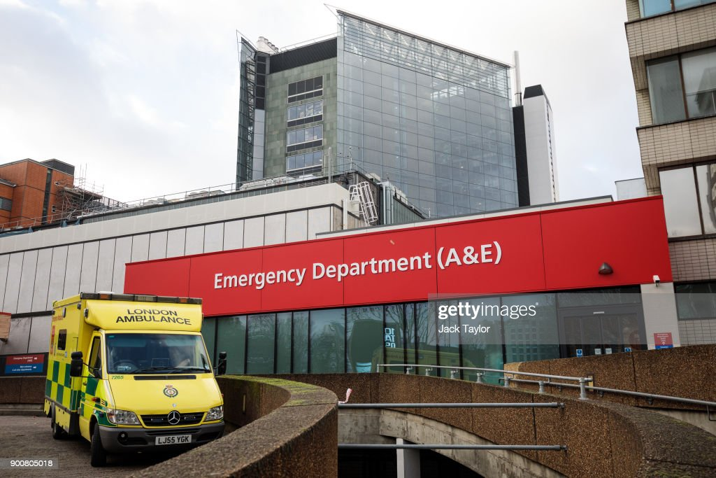 An ambulance sits outside the Accident and Emergency department of Guy's and St Thomas' Hospital on January 3, 2018 in London, England. Hospitals in the UK have been advised to postpone all non-urgent operations until the end of January as the NHS struggles to cope with the surge in patients over the winter period.