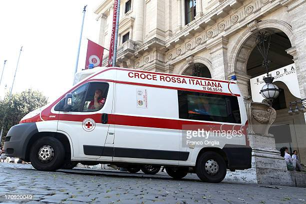 An ambulance stays in front of Boscolo Luxury Hotel Exedra were awardwinning actor James Gandolfini stayed with his family during vacation on June 20...